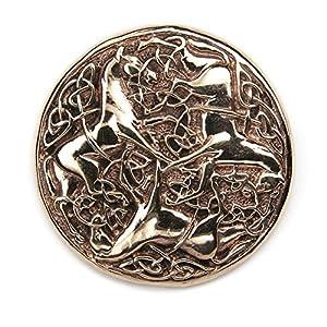 keltische Pferde Brosche Schmuck Bronze Fibel Mittelalter, Durchmesser 4,5cm
