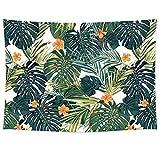 GT06, arazzo con foglie di palma tropicale, coperta per divano. Tessuto in poliestere leggero, decorazione da parete, coperta da spiaggia, runner da tavola. 198,1x 147,3cm, orange flower, 78'*58'