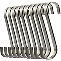nuosen S Hooks, 10 Pcs S Shaped Hanging Hooks Stainless Steel Flat S Hooks Pan Hooks Kitchen Hooks Heavy-duty Hangers…
