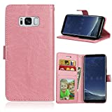 from BONROY Galaxy S8 Case,Samsung Galaxy S8 Cover,Retro Vintage Slim PU Leather Wallet Case Purse Protective Cover for Samsung Galaxy S8,BONROY Premium Folio Case with Stand Card Holders Slot Magnetic Closure Flip Book Case For Samsung Galaxy S8 - Pink Model Samsung Galaxy S8