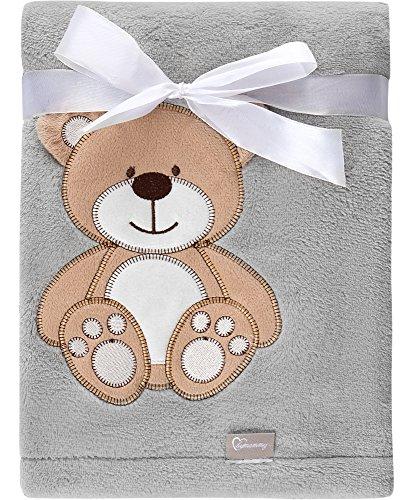 Be Mammy Kuschlige Babydecke mit 3D Applikation 76 x 102 cm BE20-168 (Grau - Bär)