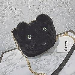 Bolsa de Oso de Peluche de Dibujos Animados de Cadena de Moda de la Personalidad Bolso de Hombro Messenger Bag , negro