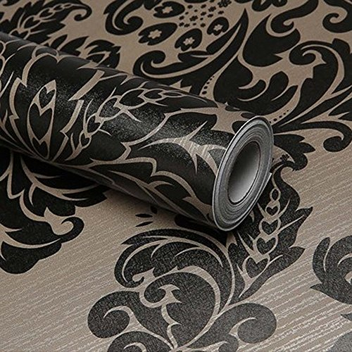modernen Stil schälen und Stick schwarz Damast Tapete Selbstklebendes Vinyl Kontakt, Papier, Folie, für Küche Schränke Schubladen Regal Kommode Kunst und Handwerk Aufkleber 45x 500cm Kunst Handwerk Regal