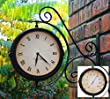 About Time Bracket Mounted Double Sided Garden Outdoor Clock and Thermometer - 31.5cm (12.4in)