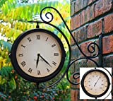 About Time Bracket Mounted Double Sided Garden Outdoor Clock and Thermometer - 31.5cm (12.4in) ()