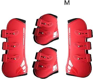 Red l/équitation Dyda6 Lot de 4 Protections de Jambes Avant arri/ère r/églables pour Cheval Coque en PU r/ésistant aux Chocs /Équipement de Protection pour Le Saut /à Cheval la soir/ée Taille M