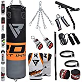 RDX Punch Bag Filled Set Kick Boxing MMA Heavy Training Muay Thai Gloves Punching Mitts Hanging Chain Wall Bracket Anchor Rope 17PC Martial Arts 4FT, 5FT