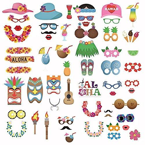 Gosear 60pcs Lustig Foto Stand Props Kit Photobooth Prop Karte Cute Brillen Ananas Getränke Blume Band Muster Dekoration für Urlaub Hochzeit Abschluss Beach Geburtstag Tropischen Hawaiian (Hawaiian Jungen Kostüme Für)