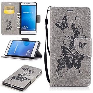 LMAZWUFULM Hülle für Huawei P9 lite/VNS-L31 5,2 Zoll PU Leder Magnet Brieftasche Lederhülle Schmetterlinge Prägung Design Stent-Funktion Ledertasche Flip Cover für Huawei P9 lite Grau