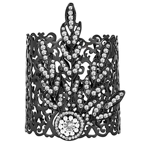 att-Medaillon Armband Damen Gatsby Motto Party Zubehör 20er Jahre Kostüm Accessoires für Damen (Schwarz) (Hochzeit Motto Kostüme)