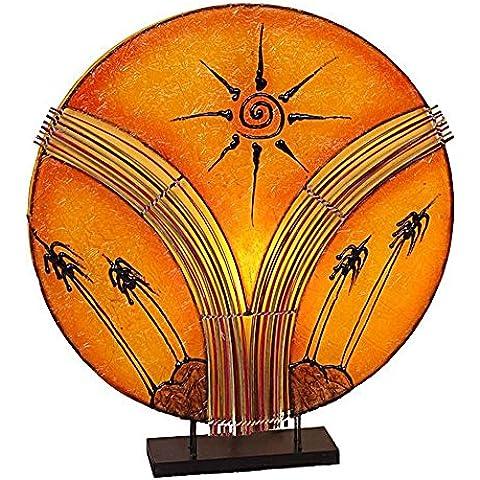 Design lampada decorazione luce Naomi in Ecru I materiali 35 cm di altezza, lampada da tavolo rotondo in metallo e resina con motivo sole arancione
