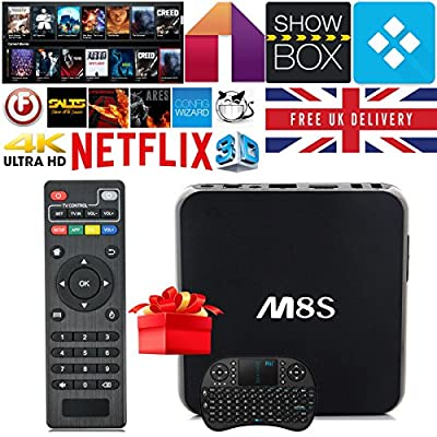 NTTEK ® [Free Wireless Mini keyboard] M8S Quad Core Android TV Box Fully Loaded Kodi 15.2, Amlogic S812 2GHz, 2G/8G