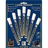 Securit - Juego de marcadores de tiza (7 unidades, 1-2 mm, punta redonda, colores surtidos), color blanco 1-2 mm mit runder Spitze
