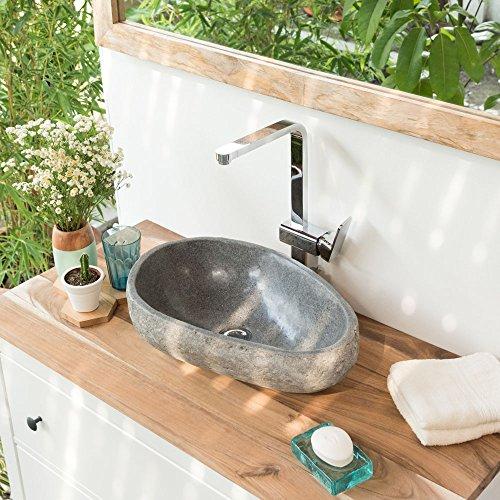 wohnfreuden Steinwaschbecken 40 cm - Naturstein Waschbecken ✓ Unikat Auswahl nach Kauf ✓