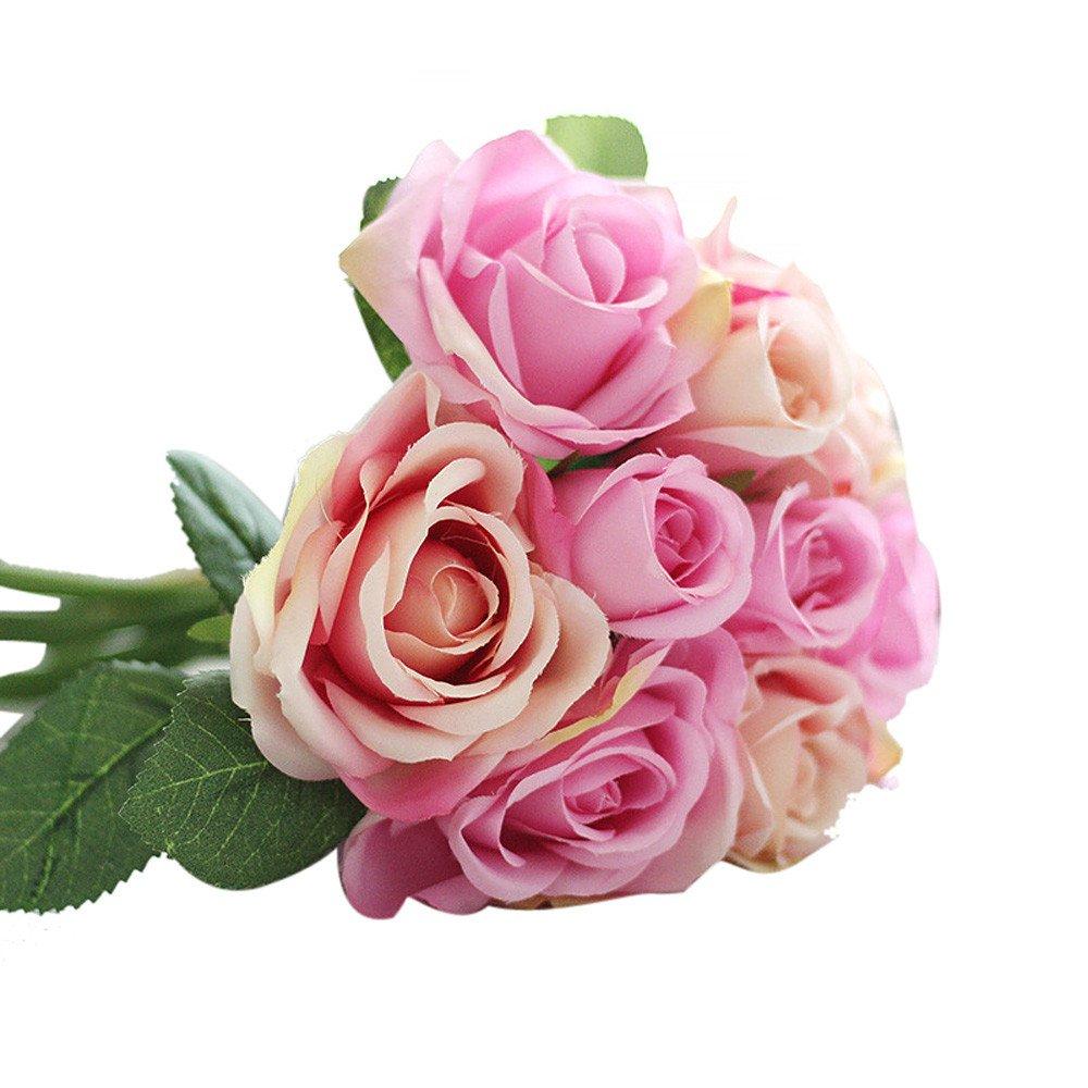 Sayla Flores Artificiales 1 pc 9 Cabezas Artificial Seda Rosa Flores Falsas Ramos de Flores para La Decoración de La…
