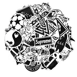 Aufkleber Pack [100-pcs] Schwarzweiss Graffiti Sticker Decals Vinyls für Laptop, Kinder, Autos, Motorrad, Fahrrad, Skateboard Gepäck, Bumper Sticker Hippie Aufkleber Bomb wasserdicht