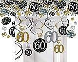 Feste Feiern Geburtstagsdeko Zum 60 Geburtstag | 13 Teile Deckenhänger Swirl Tischkonfetti Gold Schwarz Silber Party Deko Set Happy Birthday