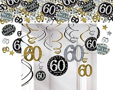 FesteFeiern Dekoration zum 60 Geburtstag | 13 Teile mit Swirl Spiralen und Tischkonfetti gold schwarz silber | Geburtstags Deko 60. happy birthday