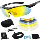 Miriqi gepolariseerde sportbril, fietsbril, sportieve zonnebril, UV400-bescherming voor heren en dames, met 5 wisselglazen, v