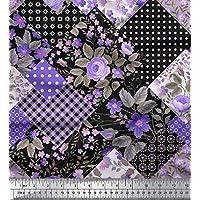 Soimoi Purpura gasa de viscosa Tela punto, floral y del cheque labor de retazos tela