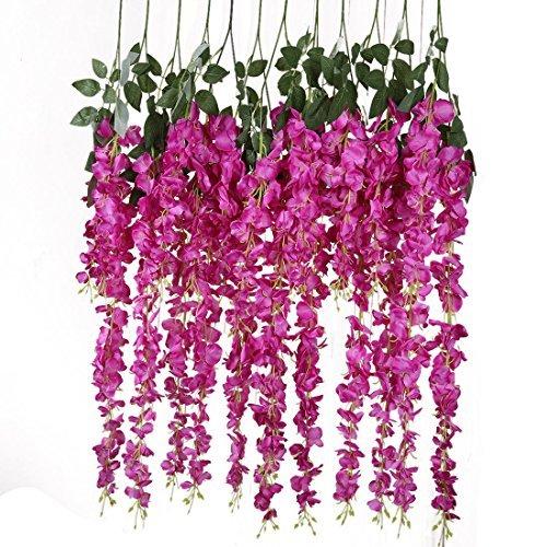 Wisteria Reben Rayon Seide Fuß hängende Blumen-Hochzeit Dekoration, 6, (Farbe-4)
