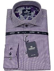 Lerros Herren Hemd Modern Fit Haikragen Punkte lila / weiß 4681824 878