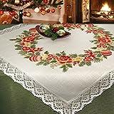 Stickpackung WEIHNACHTSBOUQUET / Komplettes vorgezeichnetes Tischdecken Set zum Sticken / Stickset mit Stickvorlage für Erwachsene / Weihnachten