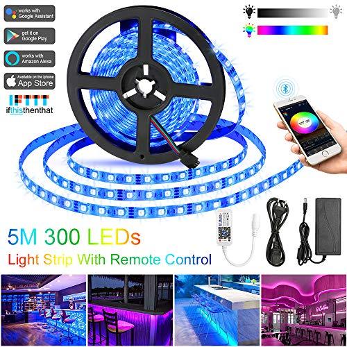 Bluetooth LED Streifen 5M Wasserdicht IP65 RGB 5050 300 LED Stripes mit Smart Bluetooth Kontroller+12V Netzteil für Haus, Garten, Dekoration