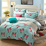 Twin , Peony : Pure Cotton 4-Piece Bedding Set, Printed Pink Roses Pattern Design (Twin, Peony)
