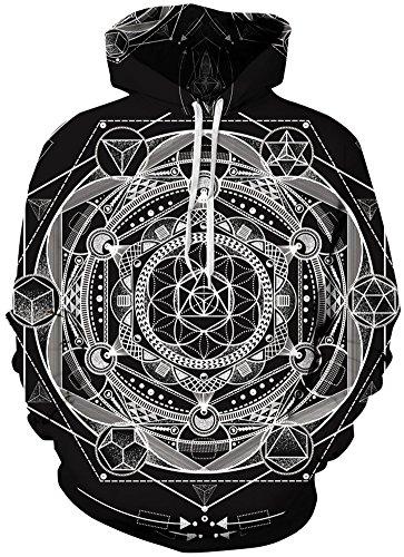 TDOLAH Herren Kapuzenpullover Schwarz Sweat Hoodie Digitaldruck Sweatshirt Pullover Weahls Form