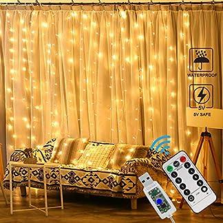 Zorara Cortina de Luces LED Navidad,3m x 3m Cortina Luces LED, 8 Modos de Luces, Resistente al Agua,Cortina Luces LED para Decoración de Ventana[Clase de eficiencia energética A+]