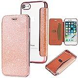 Yobby Glitter Cover per iPhone 7,iPhone 8, Brillantini Pelle Flip Libro Portafoglio Custodia con Porta Carte e Trasparente Morbido TPU Indietro Placcatura Caso-Oro Rosa