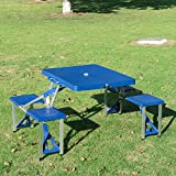 homcom Outsunny Tavolino da Campeggio con 4 sedie Richiudibile a Valigetta in Alluminio