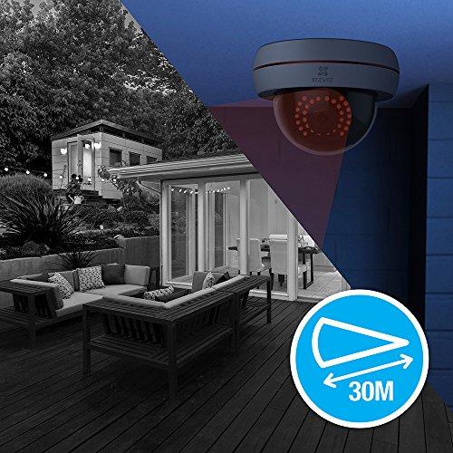 EZVIZ C4S, 1080P HD WLAN Dome-Kamera mit Nachtsicht, wetterfest, Vandalensicher, Weiß