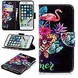Artfeel iPhone 7 Plus Hülle,iPhone 8 Plus Leder Flip Brieftasche Hülle,Niedlich Rose Flamingos Muster Malerei Magnetverschluss Standfunktion Handyhülle mit Kartenfach und Geldbörse,Weiche Silikon Innenschale Bumper Stoßfest Schutzhülle für iPhone 7 Plus,iPhone 8 Plus