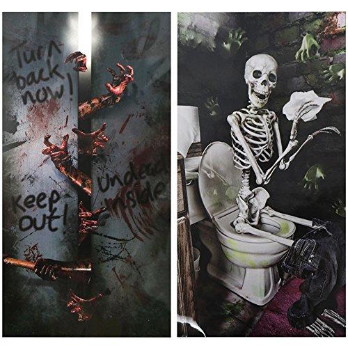 COM-FOUR® 2x Tür Deko für Halloween mit verschiedenen Motiven, Horror Tür Cover zum Gruseln, 83,5 x 161 cm (02 Stück - Türdeko Set1)