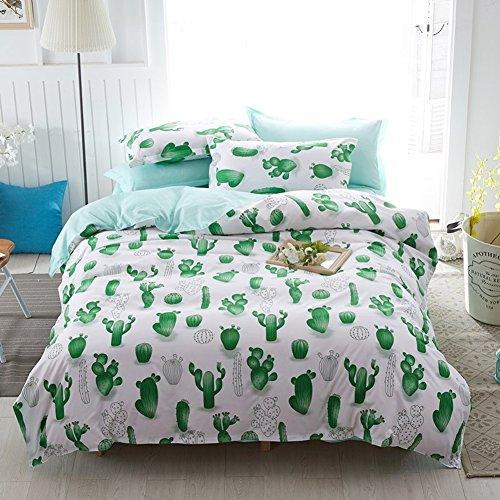 DOTBUY Bettbezug Set, 3 Stück Super Weiche und Angenehme Mikrofaser Einfache Bettwäsche Set Gemütlich Enthalten Bettbezug & Kissenbezug Betten Schlafzimmer (135x200cm, Kaktusgrün)