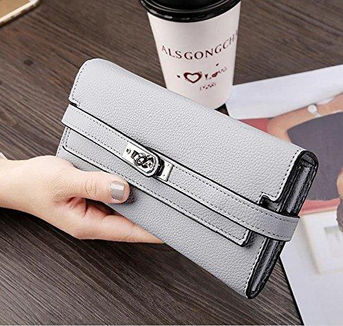 Hippolo Donna grande capacità lusso cera vera pelle Portafoglio con tasca con zip (confezioni regalo) (Pink) Grey