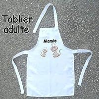 Texti-Cadeaux-Tablier cuisine adulte Souris à personnaliser Exemple: Mamie, Maman, Ginette