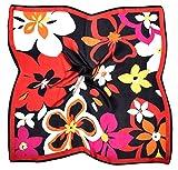 Bees Knees Fashion - Sciarpa - Foulard Quadrato In Seta Stampata Con Stampa Fiore Nero Rosso