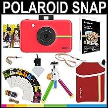 Polaroid - Cámara instantánea Polaroid Snap (Rojo) + Papel Zink 2x3 (paqute de 20) + Funda de Neopreno + Marcos para fotos + Set de accesorios