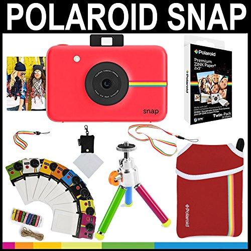 Galleria fotografica Polaroid - Fotocamera istantanea Snap (Rosso) + 20 fogli di carta zincata 2x3 + custodia in neoprene + cornici fotografiche + pacchetto accessori