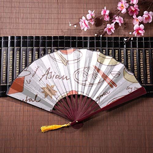 WYYWCY Hand-Fans personalisierte süße chinesische Küche Cartoon mit Bambus Frame Quaste Anhänger und Stoffbeutel Handheld Fan Bambus Fan chinesische Kinder japanische Fans