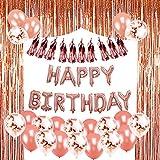 Geburtstag Dekoration Roségold, Geburtstagdeko Mädchen Roségold mit 1 Set Happy Birthday Banner, 25Pcs Konfetti Latex Ballons, 1 Set Folie Vorhänge Metallic Fringe Vorhänge, 10Pcs Seidenpapier Quaste Garland