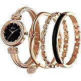 Clastyle Orologio da Polso o Set Orologio e Bracciale Diamante da Donna con Cinturino in Acciaio Oro Rosa
