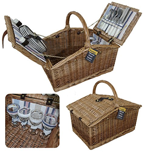 Marko Outdoor Tilbrook 4 Personen Picknickkorb Food Hamper Twin Deckel Luxus