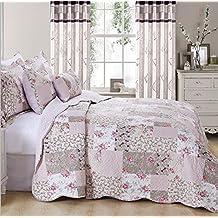 Colcha con patrón de «patchwork» floral de estilo vintage con 2 almohadas de adorno