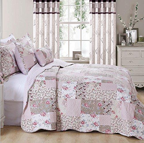 Colcha de patchwork floral de estilo vintage con 2 almohadas de adorno (Zurich), 100% algodón, matrimonio grande
