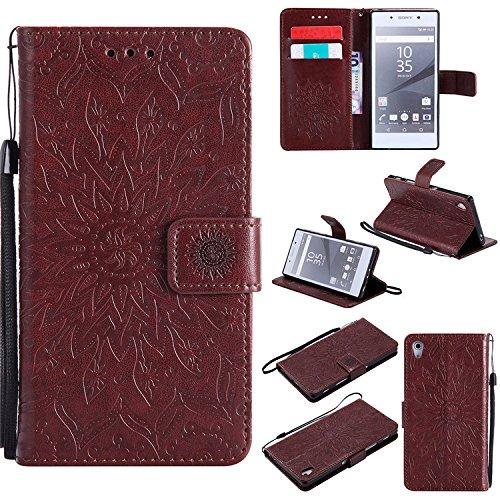 Nutbro Sony Xperia Z5 Tasche, Sony Z5 Flip Tasche Handytasche [Standfunktion] Premium Magnetische PU Ledertasche mit Kartensteckplatz Folio Flip Tasche für Sony Xperia Z5