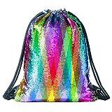 Mermaid Pailletten Rucksack Tasche Mode Sporttasche Glitzer Rucksack Pailletten Tasche Tunnelzug für rucksack mädchen Bunt